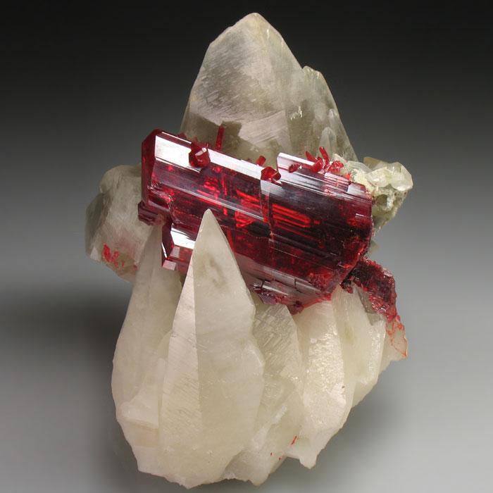 Realgar on Calcite