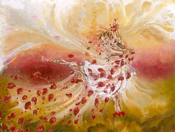 Abstract Ballerina woman red figurative painting