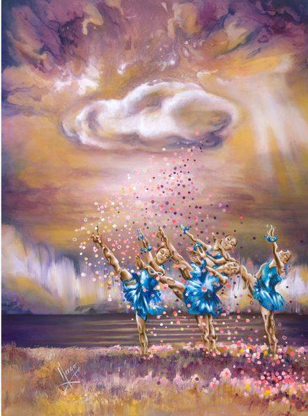 Ballerina dancers landscape painting purple art