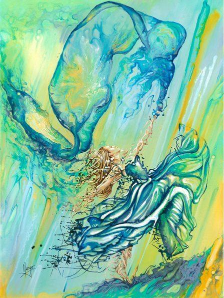 dancer figurative woman blue painting