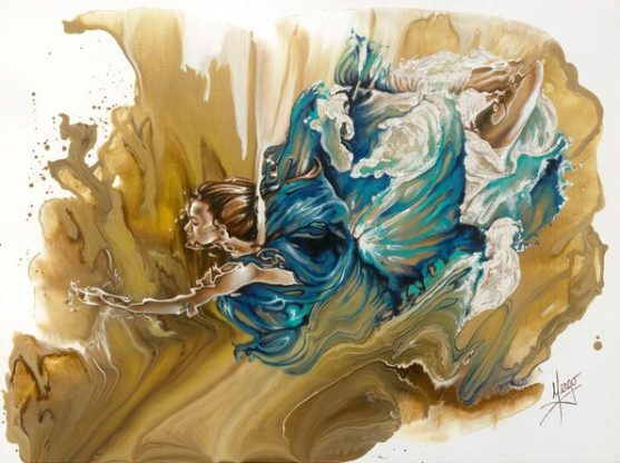 Deliver- figurative underwater woman painting