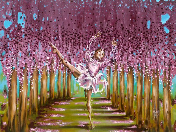 Ballerina painting, dancer in the forest, figurative art