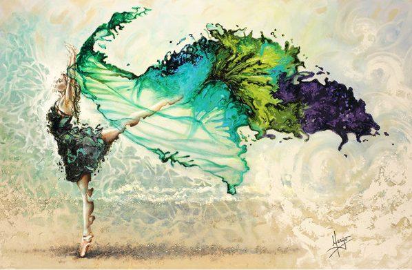 Figurative ballerina dancer with veil painting