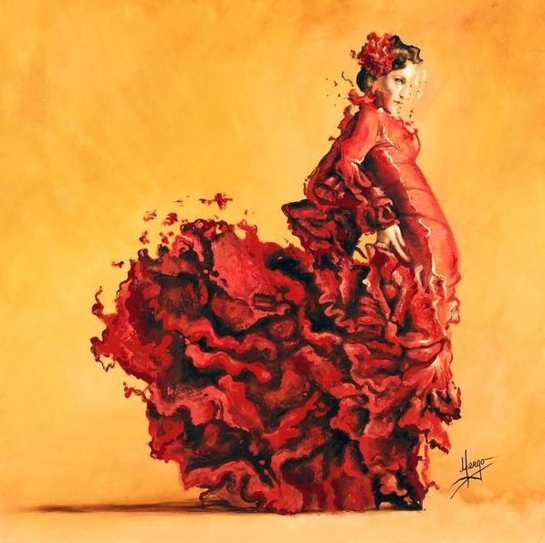 Original Acrylic figurative painting art for sale - woman flamenco spanish dancer in red and orange - hand made giclee canvas print available