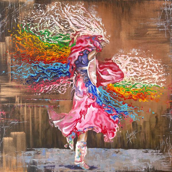 Figurative native dancer painting