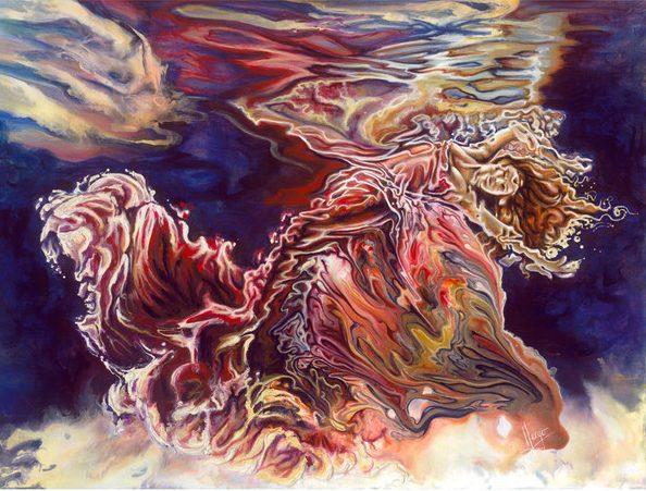 Mermaid- figurative underwater woman painting